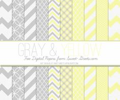 Just Peachy Papers: Free Gray and Yellow Digital Paper Set