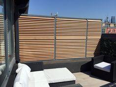 Roof terrace hardwood slatted horizontal privacy screen fence London