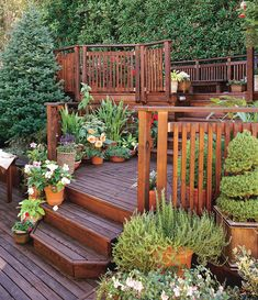 This Planting Guide Solves All of Your Sloped Garden Problems - Dream Garden - This multi level deck would have a walkway leading to our Koi pond and the other direction leading - Sloped Yard, Sloped Backyard, Backyard Landscaping, Landscaping Ideas, Backyard Ideas, Patio Ideas, 3 Tier Deck Ideas, Deck Ideas On A Slope, 2 Level Deck Ideas
