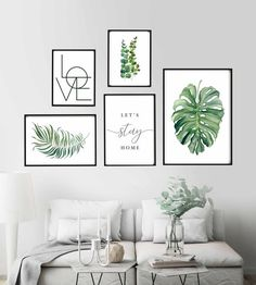 Gallery Wall Set, Let's Stay Home Sign, Botanical Print, Monstera . Herbs Illustration, Wildflower Drawing, Palm Tree Decorations, Lets Stay Home, Room Wall Decor, Canvas Wall Decor, White Wall Decor, Wall Decor Frames, Wall Art For Bedroom
