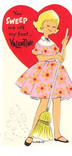 Vintage Valentine Card Sweeping Girl with Broom Unused Die Cut