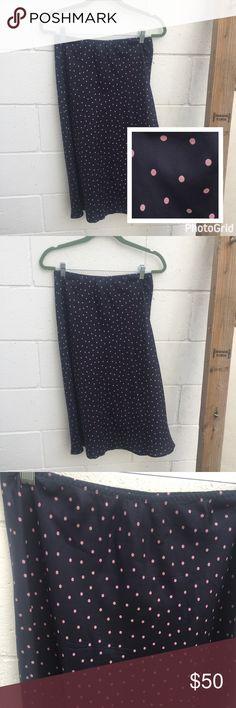 Gap 100% Silk Polka Dot Midi Elastic Skirt Adorable 100% Silk Midi Navy and Pink Polka Dot Skirt. Perfect condition. Size 6. Elastic waist. GAP Skirts Midi