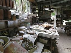 The ceramics studio at the Crow House, home of artist Henry Varnum Poor, is photographed June 4, 2014 in New City. Poor, known for his ceramics and paintings, built the house starting in 1920. It features some of his art and still contains some of his art inside. His son, Peter, and several preservationists are upset because they feel the house is being allowed to rot in the elements. The Town of Ramapo bought the home and said it would preserve it.