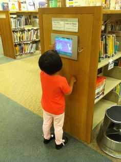 Wall mounted iPad in a Connecticut library, I'm really hoping we can get this for the CFD