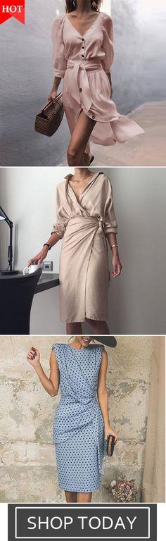 a9eb094ba2288 V-Neck Strap Mid-Sleeve Dress Elegant Chic Style Lapel Dress Elegant Wave  Point Slim Evening Dress
