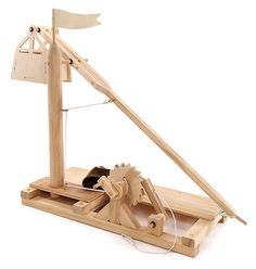 This Leonardo Da Vinci Wooden Invention Kits: Trebuchet is a kit that lets you build your own trebuchet. All of the pieces are precut, drilled, and ready-to-assemble, making it super easy.  It is perfect for history buffs, teachers, and weapons fans. Build it and display it proudly.    Leonard