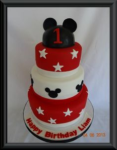 Simple Red & White Mickey Mouse Cake