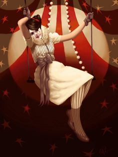 Swing Picture  (2d, illustration, girl, stars, clown, circus, swing, big top)