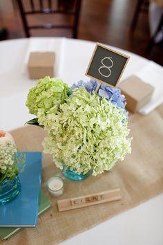 Hydrangea Wedding Centerpieces 275x412 Virginia Wedding Reception: Beth + Aaron
