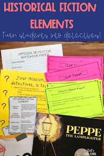 Introduce historical fiction elements by turning students into book detectives. This upper elementary activity engages students as they dive into this genre study. Perfect for starting a novel study or using with reader s workshop. Detective, Genre Study, Historical Fiction Novels, Authors Purpose, Readers Workshop, Teacher Blogs, Reading Levels, Too Cool For School, Upper Elementary