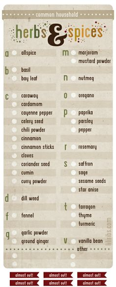 Herbs and Spices Inventory Checklist to hang inside your pantry « Lili Ribeira – Graphic Design List Of Spices, Herbs List, Spices And Herbs, Spice Blends, Spice Mixes, Ketchup, Chutney, Household Notebook, Sauce Barbecue