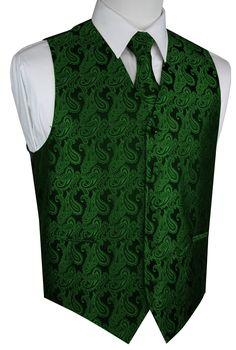 Best Tuxedo - Italian Design, Men's Formal Tuxedo Vest, Tie & Hankie Set for Prom, Wedding, Cruise in Green Paisley - Walmart.com - Walmart.com Formal Vest, Formal Tuxedo, Men Formal, Cool Tuxedos, Vest And Bow Tie, Tailored Fashion, Tuxedo Vest, Vest Outfits, Tie And Pocket Square