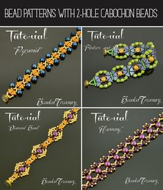 Bead Patterns with 2-hole cabochon beads by BeadedTreasury.