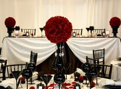 Damask Wedding Centerpieces with Red | BLACK AND RED GOTHIC WEDDING THEME CONCEPT AND IDEAS