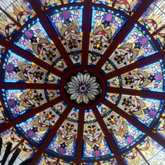 Palm court stained glass ceiling at the Fairmont Empress. Stunning.