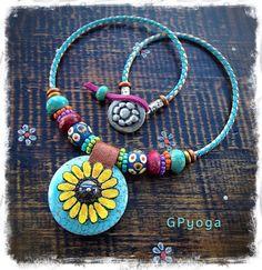 Reserve for DA. Sunshine SUNFLOWER Necklace Boho Leather by GPyoga