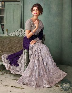 Grey & Blue Saree net saree - Google Search