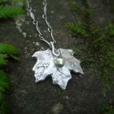 Real Leaf Necklace- Elven Maple Leaf Necklace With Peridot- Made With a Real Leaf- Artisan Handcrafted with Recycled Fine Silver