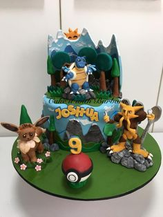 This was a very tough cake!1st,i know nothing of the character of Pokemon,2ndly,the Toppers needed lots of support to make them stand ! Glad i pulled it thru coz the Bday Boy n friends were excited when they saw it <3 Cake it with Barbara <3