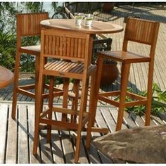 Amazonia Ibiza Bar Set by Amazonia. $509.15. Includes 1 Round Table, 3 Barstools. Brown color. Great functionality. Solid Eucalyptus wood and galvanized steel hardware. Belongs to Ibiza Collection. Great quality, stylish design patio sets, made of 100% FSC approved Eucalyptus wood. Cotton cushion. Enjoy your patio with elegance all year round with the wonderful Amazonia outdoor collection. 1 Table 31Dx43H 3 Barstools 18Wx16Dx46H / 32 Seat. Made of FSC Certified Eucalyptus Wood.