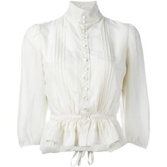 Dsquared2 'Victorian' high collar blouse ($995) ❤ liked on Polyvore featuring tops, blouses, white tops, white blouses, white button front blouse, short sleeve blouse and victorian blouse
