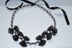 "Elegant necklace "" Classy Girl"" collection Swarovski crystal pearl and Hematite by RikaUnicaJewellery on Etsy"