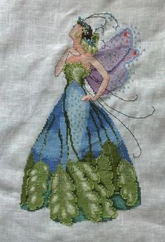"Completed Cross stitch, Spring Garden Party Collection for Pixie Couture by Nora Corbett ""Maidenhair"" NC167"