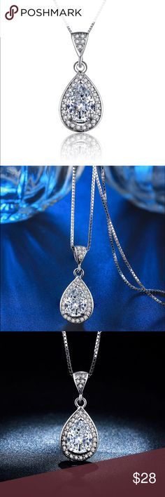 sparkling teardrop new sparkling tear drop pendant is aaa clear element with surrounding accents silver plating