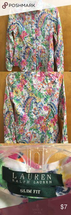 Blouse Multi colored button up blouse Slim fit Ralph Lauren Tops Blouses