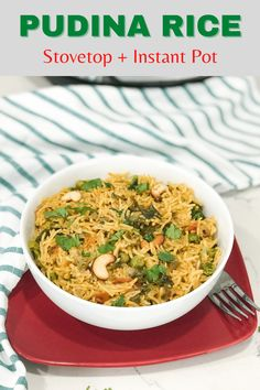 The aroma of fresh herbs and rice gives immense satisfaction once they are cooked. Enjoy this pressure-cooked pudina rice with a supporting 'cool' raita that balances the flavor.