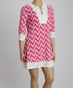 Loving this Pink Zigzag Lace Shift Dress - Plus on #zulily! #zulilyfinds