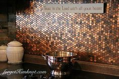 Here's our 2 cents.... for an easy diy penny stove backsplash! Pennies are a beautiful medium of copper tones. They're also a rather inexpensive way