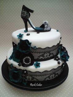 Black Lace shoe - by RockCakes @ CakesDecor.com - cake decorating website