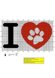 I love dogs - Free cross stitch chart animal paw print