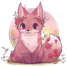 🌸🦊Thought I'd start up a new fox series! 🦊🌸 I took a suggestion from the comments for a 'life and death' / 'Persephone and Hades' themed foxes! Just sounded like such a cool concept! Very tempted to start a Greek god themed fox series haha feel lik Cute Fox Drawing, Cute Animal Drawings Kawaii, Cute Kawaii Animals, Kawaii Art, Cute Drawings, Kawaii Chibi, Cute Fantasy Creatures, Fox Art, Anime Animals