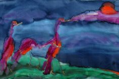 CRANES AT SUNSET Dye on Silk Painting by artist Virginia Wilson