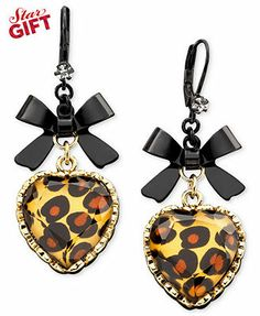 Betsey Johnson Earrings, Leopard Heart Bow