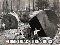"""""""It's not the biggest wood I've handled today."""" says the man in the pic. Probably. Guys say stuff like that, right?"""