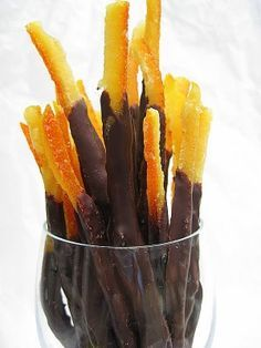 Chocolate Dipped Candied Orange Peel...one of the most decadent treats on the planet for me!!