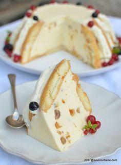 tort diplomat reteta originala savori urbane Sweets Recipes, Just Desserts, Delicious Desserts, Cake Recipes, Yummy Food, Romanian Desserts, Romanian Food, Just Cakes, Sweet Tarts