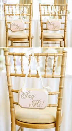 """Sweetheart table idea:Bride and Groom signs that say """" Stop By and Say Hi!"""""""