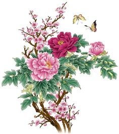 Frameless picture DIY new arrival diy digital oil painting abstract 40 50 paint by number kits Chinese painting Peony Vintage Flowers Wallpaper, Flower Wallpaper, Peony Flower, Flower Art, Butterfly Flowers, Blue Flowers, Chinese Flowers, Chinese Painting Flowers, Illustration Blume
