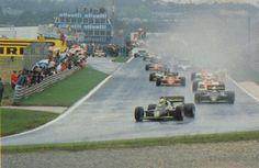 Largada Estoril 1985  Primeira vitória de Ayrton Senna na Fórmula 1. Lotus 97T