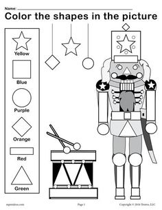 This Christmas themed nutcracker shapes worksheet and coloring page provides a fun way for toddlers and preschoolers to practice shape and color recognition as well as fine motor skills! Christmas Math, Preschool Christmas, Preschool Crafts, Christmas Themes, Science Crafts, Christmas Crafts, Xmas, Christmas Worksheets Kindergarten, Kindergarten Worksheets
