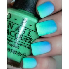OPI Caribbean Ombre Matte Mani~You Are So Outta Lime,No Room For The... ❤ liked on Polyvore featuring nails