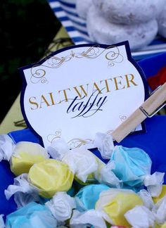 Saltwater taffy! What a cute idea! Nautical Baby Shower PRINTABLE Party Food…