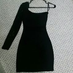 Dress Black one shoulder fitted black dress with lace sleeve Ruby Rox Dresses Mini