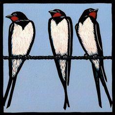 """Sold this week:stunning engraving by 'Sunlight and Shadow' & 'Summer' a beautiful lino print by Jill Kerr"" Linoleum Block Printing, Bird Quilt, Linoprint, Bird Drawings, Art Graphique, Wood Engraving, Bird Design, Linocut Prints, Woodblock Print"