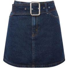 Topshop Moto Buckle Denim Mini Skirt (11.970 HUF) ❤ liked on Polyvore featuring skirts, mini skirts, bottoms, topshop, indigo denim, denim miniskirts, denim skirts, short blue skirt and short mini skirts
