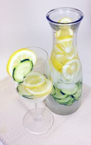 Detox Day Spa Lemon Cucumber Water Makes one pitcher Ingredients: 1/2 Lemon thinly sliced 1/4 Cucumber thinly sliced- save 2 slices to place on your eyes Ice Water